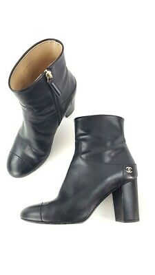 87a28adba407 Chanel Black 15A Black Calfskin Leather Cap Toe Ankle Boots Shoes Size 39 •  469.99$