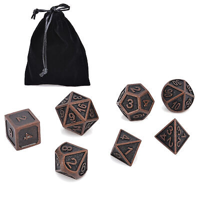 AU17.29 • Buy 7Pcs/set Metal Polyhedral Dice DND RPG MTG Role Playing Game With Bag Black