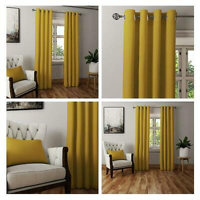 Yellow Ochre Curtains Blockout Thermal Eyelet Curtain Ready Made Ring Top Pairs • 24.65£