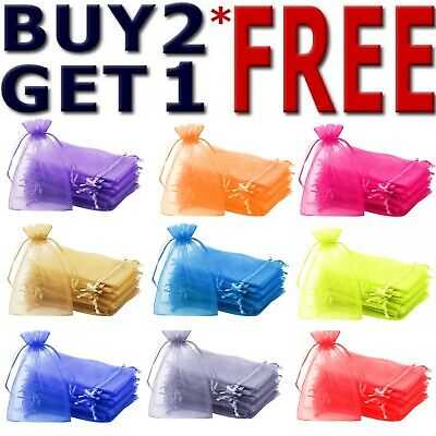 £4.49 • Buy 25 & 50 Organza Bags Wedding Party Favour Gift Candy Jewellery Pouch Large Small