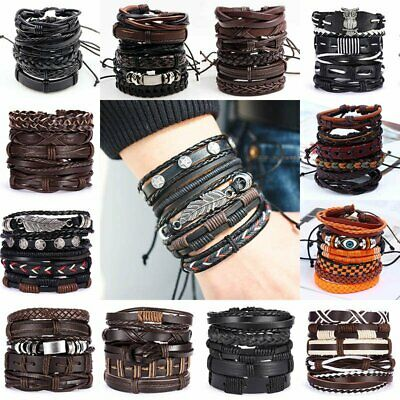 $1.36 • Buy 6pcs/set Multilayer Leather Bracelet Handmade Men Women Wristband Bangle Gifts