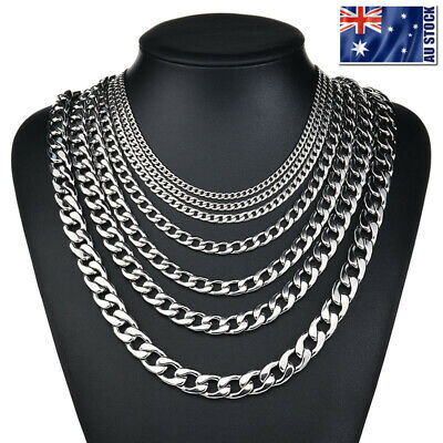 AU6.95 • Buy 2-13mm Men's 316L Stainless Steel Silver Curb Link NK Necklace Chain Wholesale