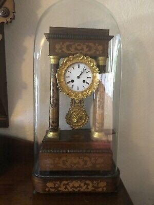 £550 • Buy Antique Rosewood Inlaid Clock Under Glass Dome