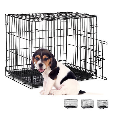 View Details Folding Metal Dog Crate XS-XL Car Travel Carrier • 51.90£