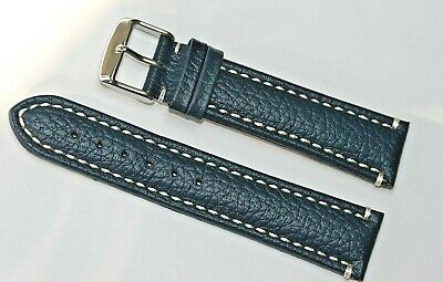 Genuine Leather Padded Stitched Buffalo Pilots Watch Strap Blue 22mm & 24mm New • 16.95£