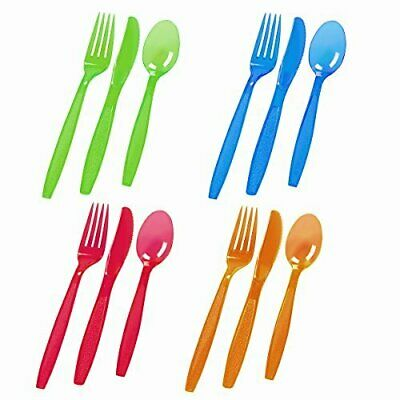 £2.95 • Buy 18pc Reusable Plastic Cutlery Neon Colourful Silver Party BBQ Spoon Knife Fork