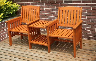 £164.99 • Buy BIRCHTREE Garden Love Seat Wooden Bench 2 Seater Patio Twin Chair W/ Table LS02