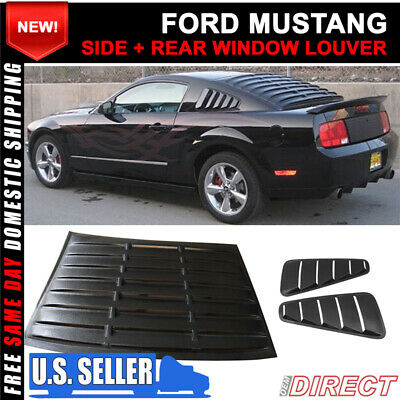 Fits 05-14 F0rd Mustang V6 Side Window Louver Quarter Board ABS