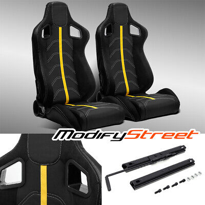 $289.99 • Buy 2 X BLACK PVC LEATHER/YELLOW STRIP/WHITE STITCH LEFT/RIGHT RACING BUCKET SEATS