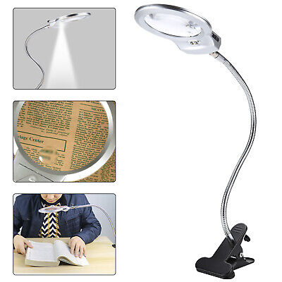 LED-illuminated Clip-on Desk Metal Hose Magnifier Magnifying Glass Loupe 4x,6x • 12.99£