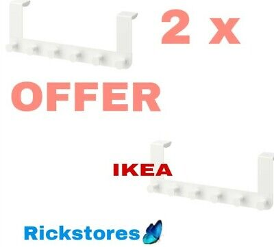 2 X Ikea Enudden Over Door 6 Hooks Hanger Knobs White •🔝OFFER • 15.85£