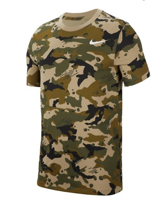 0532ce9b New Nike Dri-FIT Camo Training Tee T-Shirt Olive Green BQ2594 Men's LG