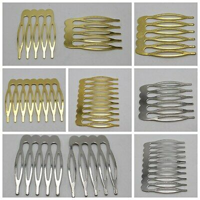 $ CDN5.10 • Buy 20 Silver Gold Blank Metal Hair Comb With 5-10 Teeth For Bridal Hair Accessories
