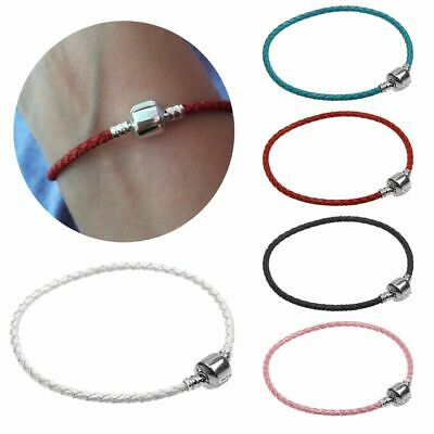Leather Woven Braided Cord Euro Charms Bangle Bracelet With Silver Plated Clasp • 2.49£