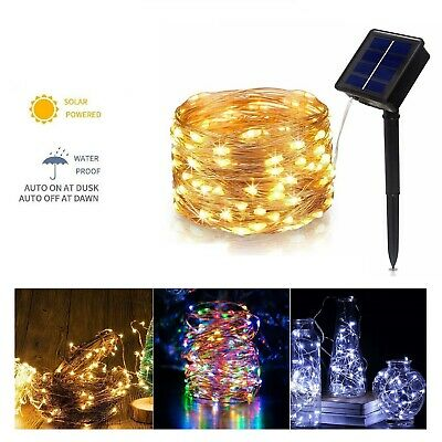 LED Solar String Lights Waterproof 5/10/20/50M Copper Wire Fairy Outdoor Garden • 9.99£