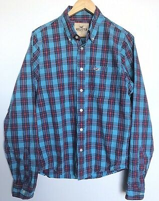 AU20 • Buy Hollister Mens Long Sleeve Shirt Blue Red Check Size XL