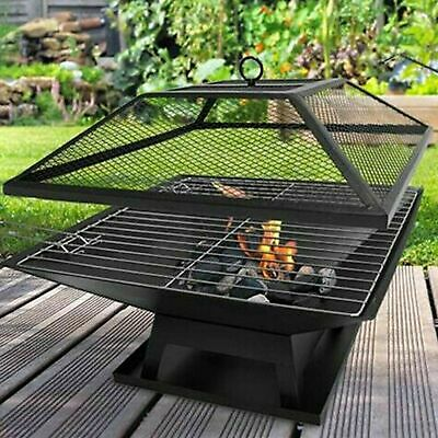 Fire Pit Bbq Grill Heater Outdoor Garden Square Firepit Brazier Patio Outside Dt • 49.95£