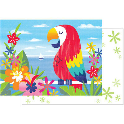 8 X Lush Luau Parrot Invitations With Envelopes Summer Party Supplies Invites • 4.19£