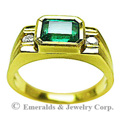 $1650 • Buy Men's Natural Emerald Ring With Side Diamonds 14K Yellow Gold