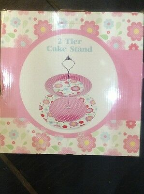 TIERED CAKE STAND BNIB Gorgeous Pink Porcelain Cupcake 2 Tier Cake Stand • 14.99£