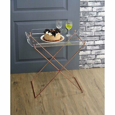 $127.01 • Buy Dining Serving Removable Tray Table Side Stand Clear Acrylic Table X Copper Base