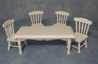 White Table & Four Chairs, Dolls House Miniature, Furniture. • 18.49£