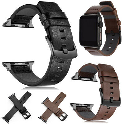 AU11.99 • Buy Genuine Leather Wrist Band Strap For Apple Watch IWatch 5 4 3 2 1 Series 40/44mm