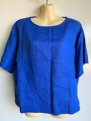 $21.99 • Buy NWT $79 CHICO'S Majestic Blue Linen Cana II Top Shirt Size 1 = Size 8 ~NEW