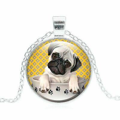 £1.34 • Buy Pug Dog Pendant Necklace Pug In A Tea Cup Glass Cabochon Silver Chain Necklace