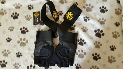 Golds Gym Wrist Wrap Weight Lifting Gloves Leather Exercise Training Support • 6.99£