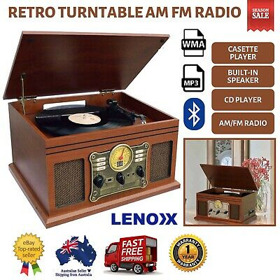 AU248 • Buy NEW Turntable Vinyl Record Player Casette AM FM Radio CD USB Bluetooth Remote