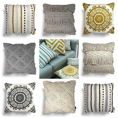 Rocco Filled Cushion Tassel Pom Pom Cotton Boho Embroidered Cushions 17  X 17  • 16.95£