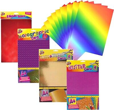 8x Sheets Of A4 Board Card Craft - Gold/Silver, Metallic, Glitter, Holographic • 2.49£