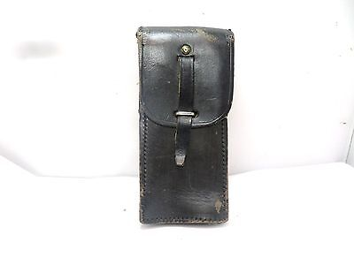 Old  French Army Black Leather Ammo Pouch • 12.99£