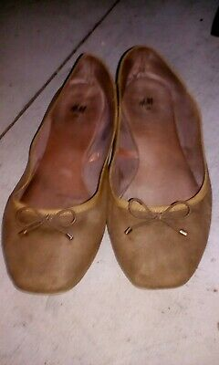 £12 • Buy Womens H/m Ballet Dolly Pumps  Small Bow Tan Size 38/5 Cushion Sole Flats