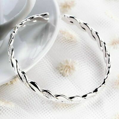 925 Sterling Silver 2 TONE Twisted GIRLS Linked Bangle Bracelet Womens Jewellery • 5.38£