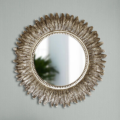 Distressed Silver Round Feathered Sunburst Mirror 40cm Wall Hanging Decor Leaf • 26.99£