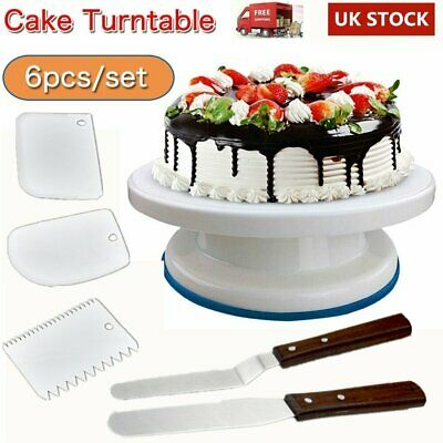 £11.39 • Buy Cake Decorating Turntable Set Icing Nozzles Spatula Display Stand Rotating Kit