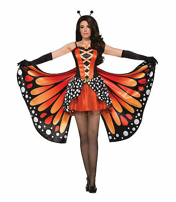 Ladies Fancy Dress Miss Monarch Butterfly Costume Orange Animal Insect (AC78464) • 28.95£