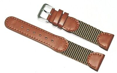 £6.95 • Buy 20mm Tan Timex Style Leather & Nylon Watch Strap Strong Military Sport New Mud