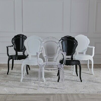 £89 • Buy NICHES Bedroom Dining Chair V2 White Black Rococo Modern Style Vanity Chair UK