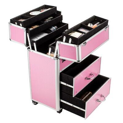 $59.99 • Buy Pro Rolling Aluminum Makeup Case Train Box Trolley Storage With Lock And Drawer