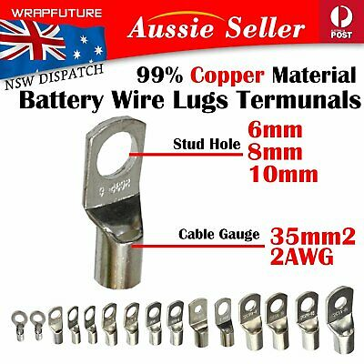 AU15.99 • Buy Tinned Copper Lugs Wire 35mm2 2AWG Rings 35-6mm 35-8mm 35-10mm Cable Connectors