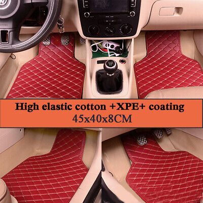 AU43.43 • Buy 4PCS / Set Red Leather Car Floor Mats Pad Carpets Waterproof Quilted Styling