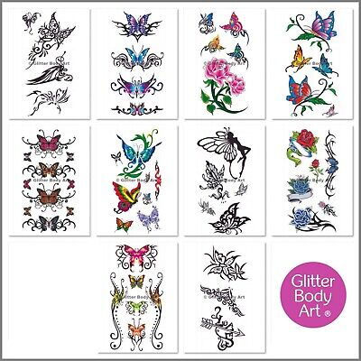 Girls Temporary Tattoos - Body Tattoo Stickers - Party Favour Pack Of 10 Sheets • 1.99£