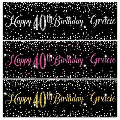 2 Personalised Birthday Banner Silver Gold Pink Party Wedding Poster  • 4.95£