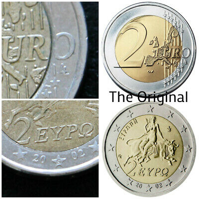 $ CDN922.74 • Buy 2 Euro 2002 S On Star GREEK Very Rare ERRORS Missing Corner Of Number 2 And O