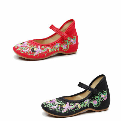 £12.15 • Buy Womens Flat Floral Shoes Chinese Folk Embroidered Flower Soft Sole Ballet Pump