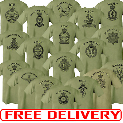 Double Sided Printed Army Olive Green Tshirt HM RTR Para REME RGR RAMC RE PWRR  • 14£