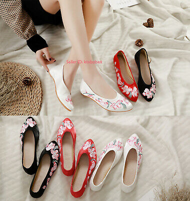 Womens Chinese Folk Embroidered Flat Shoes Mary Jane Floral Cloth Shoes Comfort • 12.88£
